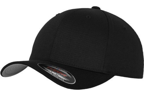 6 Panel Flexfit Flatpeak Kappe Black Größe S/M