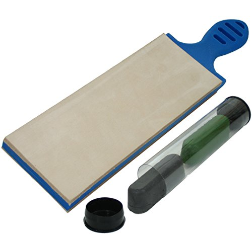 Knife Sharpener System, Professional Sharpening 2 Stage Paddle Strop & Hone Knives With Leather & Compound, Bolo Edge 3 Inch