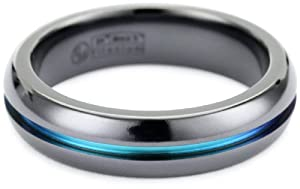 Men's Black Titanium Grooved Rainbow Dome Ring, Size 10
