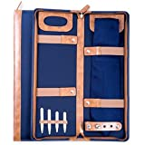 Men's Blue Ballistic Nylon Travel Necktie Tie Case Holder & Collar Stays