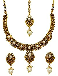 La Trendz Gold Alloy Necklace Set With Maang Tikka