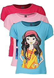 Goodway Junior Gils Stye-10- Colour - Combo Pack of 3 T-Shirts