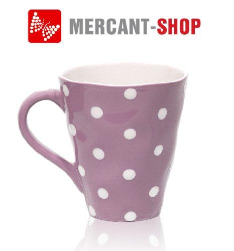 52888-Pink- Kaffeebecher pink/weiß gepunktet, Inhalt 300ml, Keramik