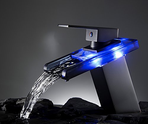 7 Faucet Finishes For Fabulous Bathrooms: Bathroom Sinks Faucets Finish LED Waterfall Spout Oil