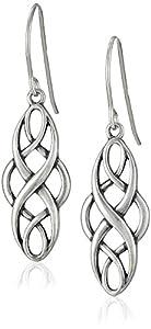 Sterling Silver Oxidized Celtic Design Oval Dangle Earrings
