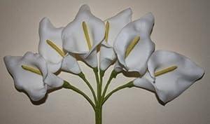 (216)luxury 6 WHITE foam calla lilies artificial flowers 4 wedding bouquet