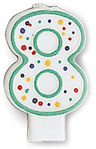 Creative Converting CANDLE-4567 Polka Dot 8 Numeral Candle, 3-Inch x 1.5-Inch - 1