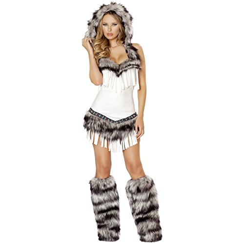 [GSG Sexy Eskimo Costume Adult Womens Indian Girl Halloween Fancy Dress] (Eskimo Hat Costume)