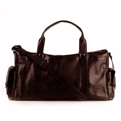 FEYNSINN XXL travel duffle bag ASHTON for men - crafted weekender (holdall) in genuine brown leather (24 x 14 x 8 in.) from FEYNSINN