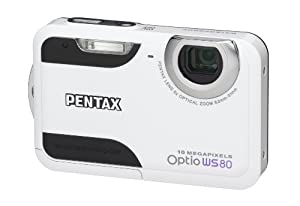 Pentax Optio WS80 Waterproof Digital Camera - White/Black (10MP, 5 x Optical Zoom) 2.7 inch Screen