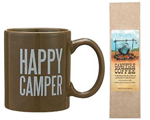 Happy Camper Coffee Tea Mug with Campfire Coffee Bundle Gift Set (2 Items)