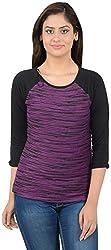 MERCH21 Women's Regular Fit Top( MERCH0030, Black and Purple, M)