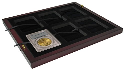 Certified-Coin-Slab-Tray-for-6ea-Certified-Coin-Holders-PCGS-NGC-fits-in-2-Tray-or-4-Tray-Mahogany-Wood-Coin-Display-Case