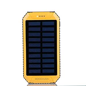 8000mAh DC5V 2A Dual USB Solar Panel Power Bank for Mobile Phone-Yellow