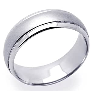 Little Treasures 14 ct White Gold 7MM Wedding Band Domed Ring