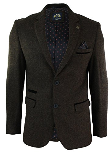 Mens-Herringbone-Tweed-Vintage-Retro-Slim-Fit-Blazer-Jacket-Brown-Black-Velvet-Trim