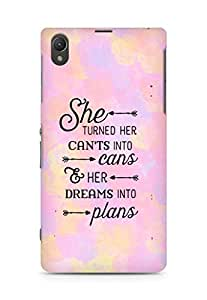 AMEZ cants into cans dreams into plans Back Cover For Sony Xperia Z1 C6902