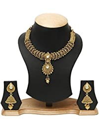 Jewels Gold Golden Alloy Necklace Set With Mang Tika