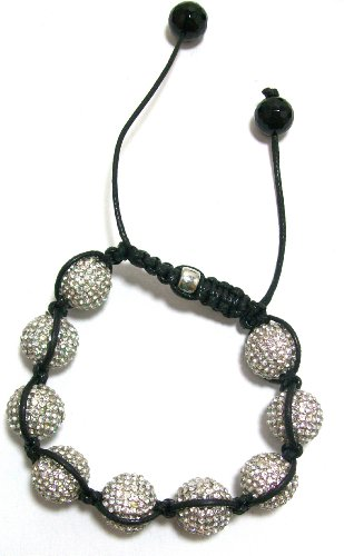 Clearance! Just Give Me Jewels Shamballa Style Macrame Bead Bracelet With Micro-Pave 12mm Clear Cubic Zirconia Crystal Beads
