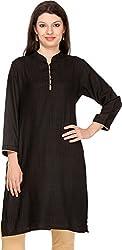 Vedanta Women's Regular Fit Cotton Kurta (KACTSPNT008BLACK_L, Black, Large)