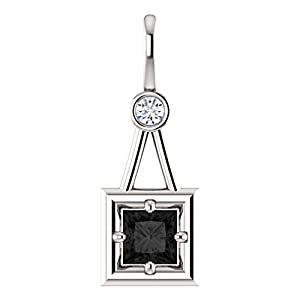 10K White Gold Princess Cut Black Diamond Pendant - 1.06 Ct.