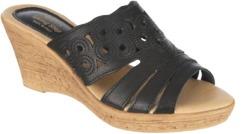 Spring Step Women'S Melancholy Wedge Sandals,Black Leather,38 front-91651