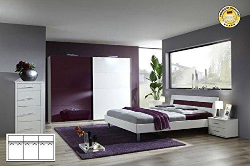 Komplett Schlafzimmer 1945 weiß/ brombeere Schwebeturenschrank 270cm, Bett 180x200cm