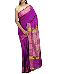 Unnati Silks Women Purple Pure Dupion Ghicha Raw Silk Plain Saree