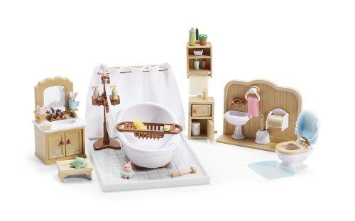 Maven Gifts Calico Critters Deluxe Bathroom Set Kozy Kitchen Set And Deluxe Living Room Set