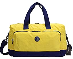 Iblue Waterproof Nylon Weekend Travel Gym Totes Shoulder Duffel Bags Lightweight 17in#Bl8002 (yellow)