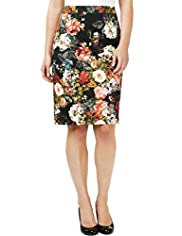 Cotton Rich Multi Floral Pencil Skirt