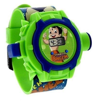 Deals on Chota Bheem Projector Digital Green Dial Kids Watch