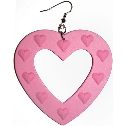 Large Plastic Heart Earring In Pink with Silver Finish