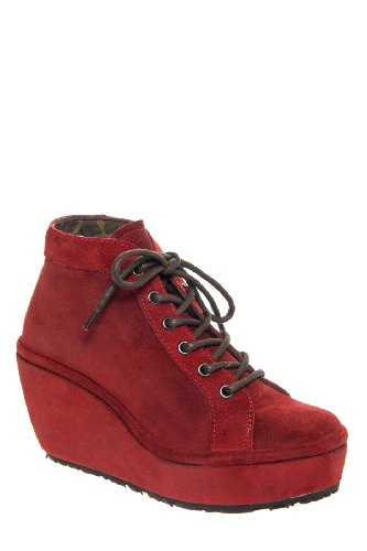 Fly London Poss High Wedge Bootie - Red Suede