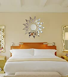 Toprate Sunshine Fire Round Flower Acrylic 3D Mirror Wall Decal, Silver