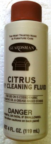 Citrus GUARDSMAN Fabric, Carpet & Upolstery DRY CLEANING Fluid OIL & GREASE STAIN REMOVER 4 oz.