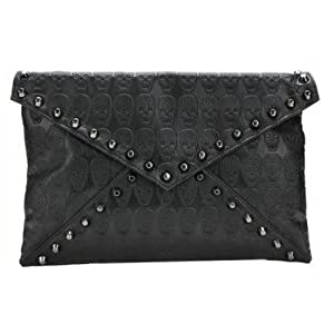 Niceeshop(tm) Cool Women's Faux Leather Skull Envelope Clutch Bag/pu Totes Hobo & Shoulder Carry Bag Skull Carry Bag