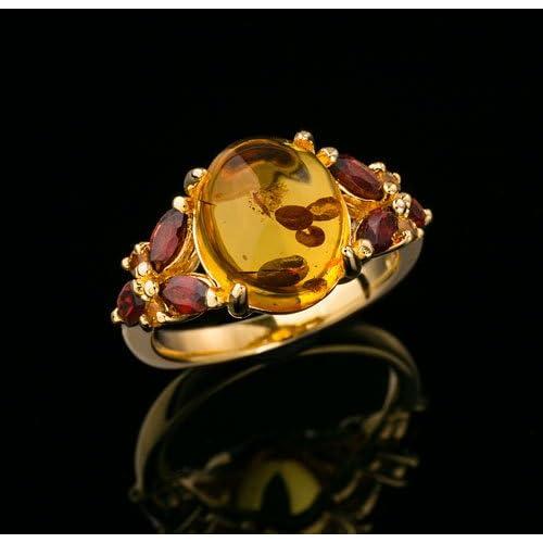 天然 琥珀 & ガーネット リング リング シルバー925 指輪 15号