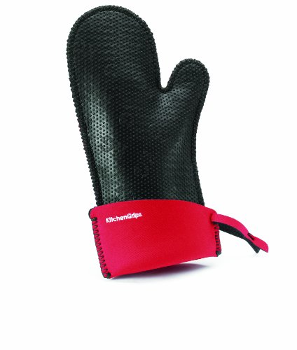 KitchenGrips Women's Relaxed Fit Single Mitt, Extendable Cuff, Cherry