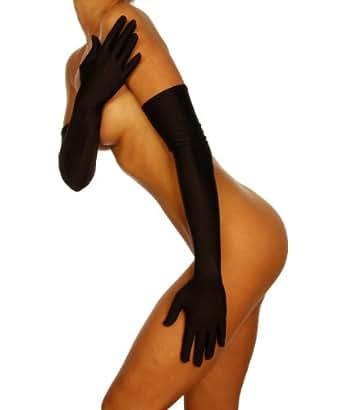 Silamoda - Femme - Gants longs satin - Unique - Noir