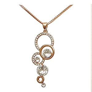 Women's Rose Gold Plated Necklace with 6 Round Crystal Settings