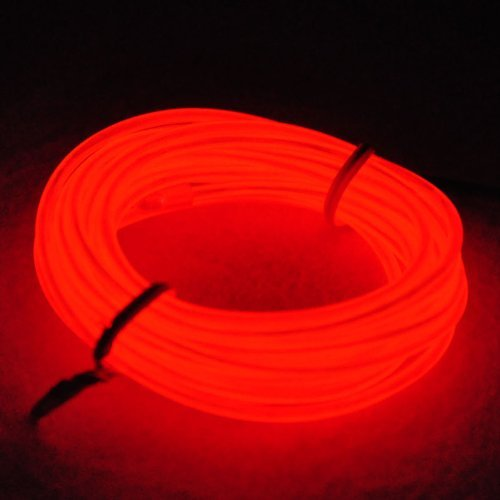 Tdltek Neon Glowing Strobing Electroluminescent Wire /El Wire + 12V Dc Adatper/Controller, Red 15Ft