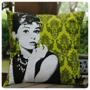 Diaidi Fashion Square Sofa Pillowcase Cushion Hepburn Throw Pillow Cover Red Green