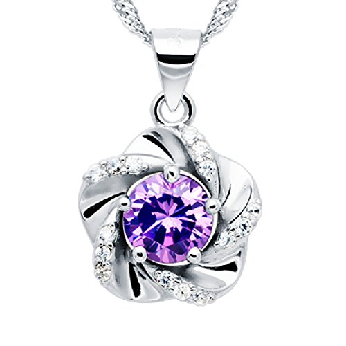 """A Touch of Springtime"" [Purple] Sterling Silver Flower Pendant Necklace"