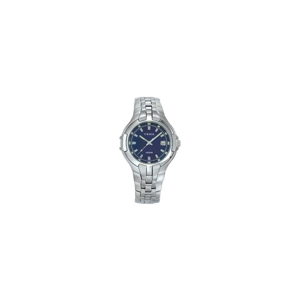 YEMA by Seiko of France Mens Silver Tone Casual/Sport Quartz Watch with Blue Dial. Model YM913