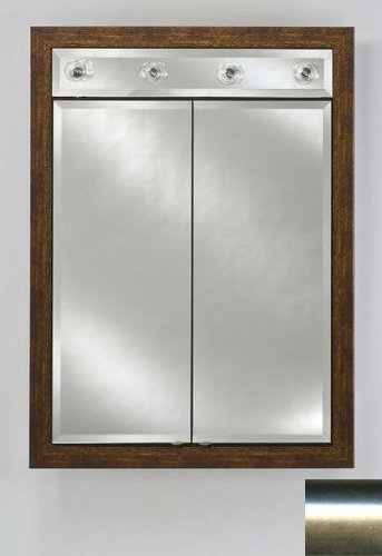 Signature Double Door Medicine Cabinet Lights Finish: Brushed Satin Silver, Size: 24
