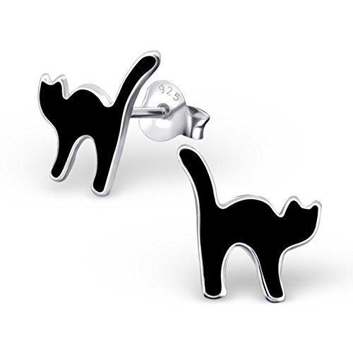Sterling Silver Black Cat Stud Earrings