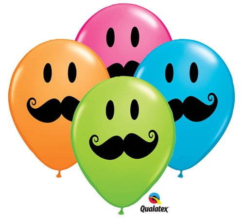 "11"" Smile Mustache Assorted Latex Balloons - Package of 12"