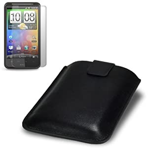 HTC DESIRE HD PREMIUM PU LEATHER POCKET CASE - BLACK, WITH SCREEN PROTECTOR PART OF THE QUBITS ACCESSORIES RANGE