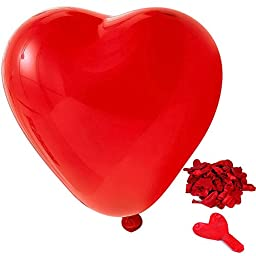 100 PCS Heart Shape Latex Pearl Thick Decoration Balloon for Wedding Birthday Holiday Party Red